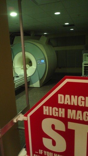The fMRI machine in the Li Ka Shing Center - literally the most high-tech apparatus I have seen and touched in my life.