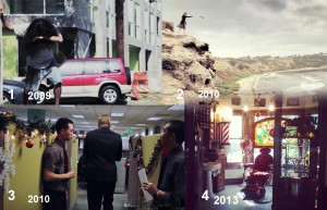 "Evolution of locations, from 1-4. First, a relatively crappy film that we shot in 48 hours behind my house in an alley. No planning, no professionalism. Second,a small but well-planned., location-scouted mini shoot with 2 crew and 2 cast that we shot on an amazing cliff in Palos Verdes, no permit. Third, a location I actually got from being persistent and nice, for my film ""Terminated""; it's a huge cubicle array and we had permission from the department that managed this space. Fourth, a location from my most recent film ""All I Want Is Silence"" - a complete result of blind luck, but I spent 4 days location scouting in order to have this blind luck happen to me - also, with official permission from the owner."